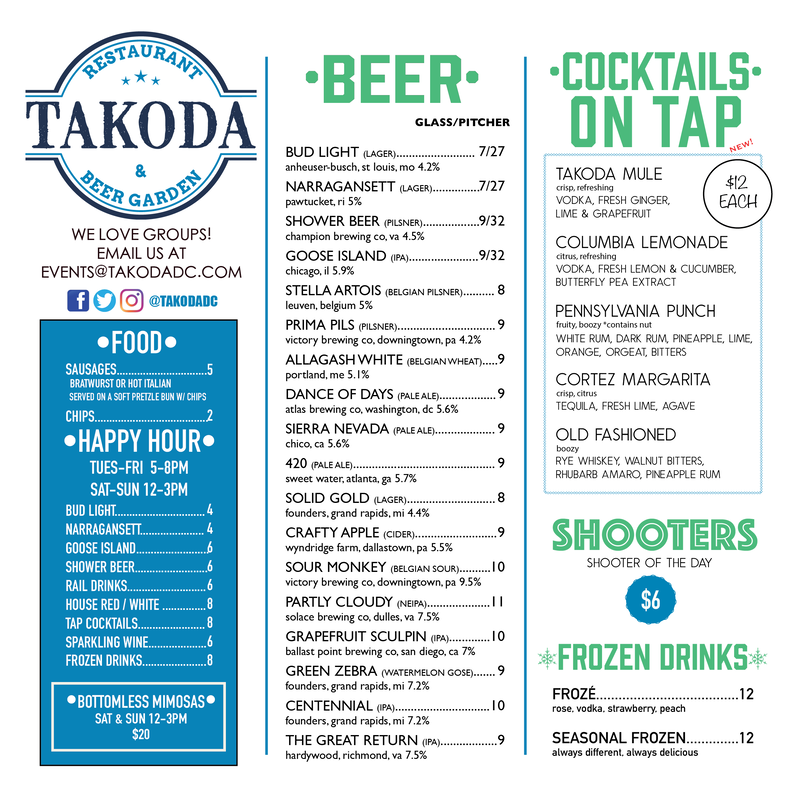 Beer Menu TAKODA DC